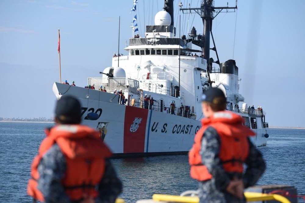 Coast Guard Cutter Sherman arrives at Naval Base San Diego on August 18, 2016. Sherman's crew offloaded approximately 11 tons of cocaine seized by various cutters in the Eastern Pacific. (U.S. Coast Guard photo by Petty Officer 3rd Class Joel Guzman/relea