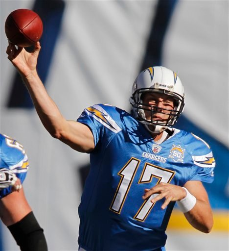 San Diego Chargers quarterback Philip Rivers fires a pass during the Chargers 24-16 victory over the Oakland Raiders in a NFL football game Sunday, Nov. 1, 2009 in San Diego. Rivers was 16 for 25 for 249 yards in the victory. (AP Photo/Denis Poroy)
