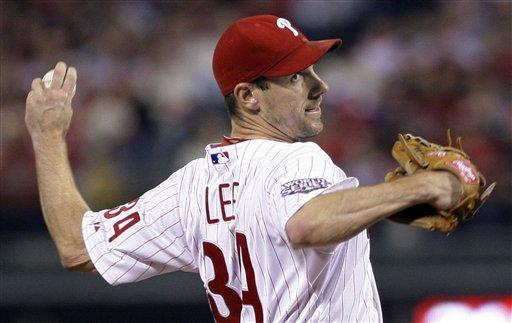 Philadelphia Phillies' Cliff Lee throws during the first inning of Game 5 of the Major League Baseball World Series against the New York Yankees Monday, Nov. 2, 2009, in Philadelphia. (AP Photo/Matt Slocum)