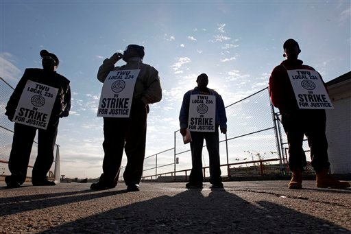 Transport workers are seen on strike outside the Fern Rock Transportation Center in Philadelphia, Tuesday, Nov. 3, 2009. (AP Photo/Matt Rourke)