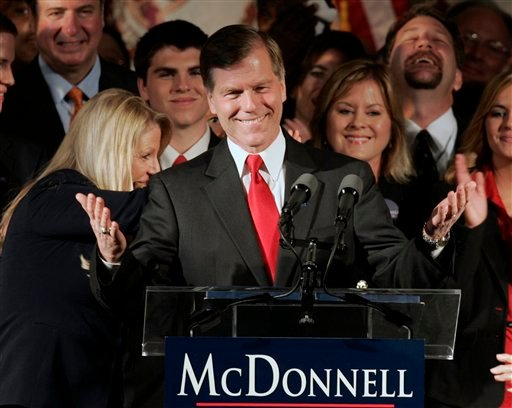 Republican Governor-elect Bob McDonnell waves to the crowd at his victory party in Richmond, Va., Tuesday, Nov. 3, 2009. Unofficial results showed McDonnell, a conservative and former state attorney general, with about 60 percent of the vote over Democrat