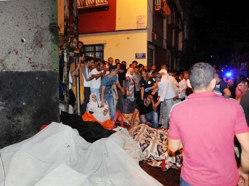 People react after an explosion in Gaziantep, southeastern Turkey, early Sunday, Aug. 21, 2016.