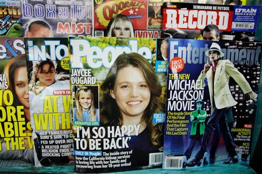 People magazine, featuring Jaycee Dugard on the cover, is for sale on a New York newsstand Oct. 16, 2009. Dugard is emerging from obscurity after police say she spent 18 years as a captive in a sex offender's yard, releasing the first photos of herself as