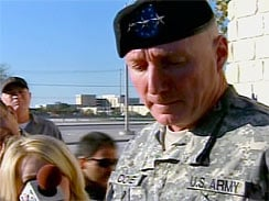 Lt. Gen. Bob Cone speaks to reporters after a U.S. soldier opened fire at Ft. Hood, killing 12 and injuring 31. (CBS)