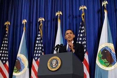 President Barack Obama speaks about Fort Hood during an event at the Interior Department in Washington, Thursday, Nov. 5, 2009. (AP)