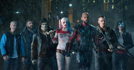 This file image released by Warner Bros. pictures, from left, Jay Hernandez as Diablo, Jai Courtney as Boomerang, Adewale Akinnuoye-Agbaje as Killer Croc, Margot Robbie as Harley Quinn, Will Smith as Deadshot, Joel Kinnaman as Rick Flag and Karen Fukuhara