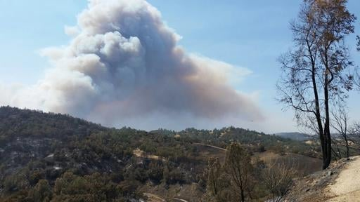 This photo provided by California Department of Forestry and Fire Protection shows smoke billowing from a wildfire near Lake Nacimiento in San Luis Obispo County, Calif., Saturday, Aug. 20, 2016. (California Department of Forestry and Fire Protection via