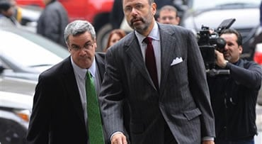 """Robert """"Joe"""" Halderman enters Manhattan criminal court with his attorney Gerald Shargel, right, Tuesday, Nov. 10, 2009, in New York. Halderman, who was charged with attempted grand larceny in the first degree for trying to extort $2 million from talk show"""