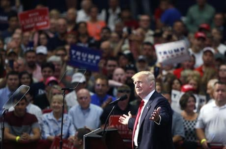 Republican presidential candidate Donald Trump speaks at a campaign rally in Akron, Ohio, Monday, Aug. 22, 2016. (AP Photo/Gerald Herbert)