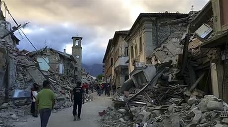 The quake was felt across a broad section of central Italy, including the capital Rome where people in homes in the historic center felt a long swaying followed by aftershocks. (AP Photo)