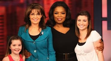 In this photo taken Wednesday, Nov. 11, 2009 and released Friday, Nov. 13, 2009 by Harpo Productions, Inc., seen is talk-show host Oprah Winfrey, second from right, with former Republican vice presidential candidate Sarah Palin and her daughters, Willow,
