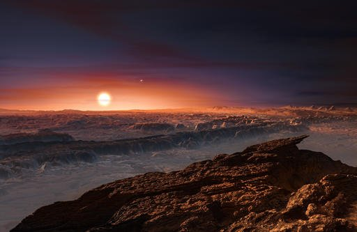 This artist rendering provided by the European Southern Observatory shows a view of the surface of the planet Proxima b orbiting the red dwarf star Proxima Centauri.