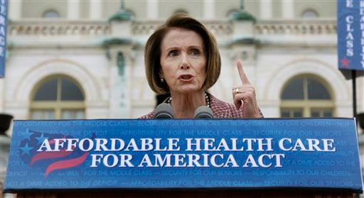 House Speaker Nancy Pelosi of Calif. gestures while speaking about health care during a news conference on Capitol Hill in Washington, Thursday, Oct. 29, 2009. (AP Photo/Alex Brandon)