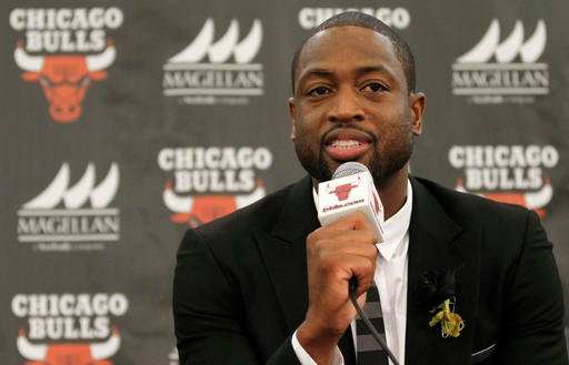 In this July 29, 2016, file photo, Chicago Bulls player Dwyane Wade speaks during a news conference in Chicago.