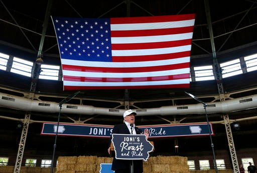 Republican presidential candidate Donald Trump speaks at Joni's Roast and Ride at the Iowa State Fairgrounds, in Des Moines, Iowa.