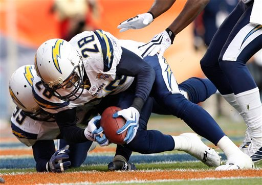 San Diego Chargers' Steve Gregory (28) picks up a loose ball in the Denver Broncos' end zone during the second quarter of an NFL football game, Sunday, Nov. 22, 2009, in Denver. Broncos' Knowshon Moreno fumbled the ball at the San Diego 1-yard line.