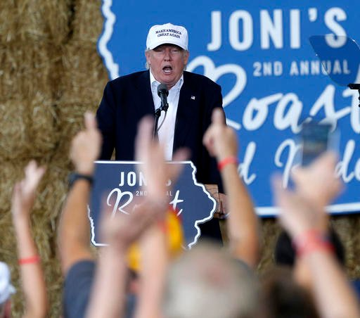 Republican presidential candidate Donald Trump speaks at Joni's Roast and Ride during a fundraiser at the Iowa State Fairgrounds, in Des Moines, Iowa, Saturday, Aug. 27, 2016. (AP Photo/Gerald Herbert)