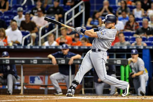 San Diego Padres' Ryan Schimpf singles on a line drive to left during the second inning of a baseball game against the Miami Marlins, Sunday, Aug. 28, 2016, in Miami. (AP Photo/Gaston De Cardenas)