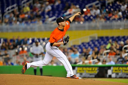 Miami Marlins' Justin Nicolino delivers a pitch during the first inning of a baseball game against the San Diego Padres, Sunday, Aug. 28, 2016, in Miami. (AP Photo/Gaston De Cardenas)