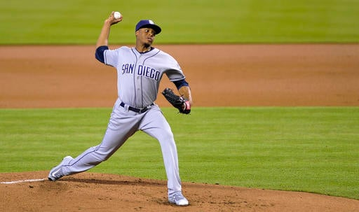 San Diego Padres' Luis Perdomo delivers a pitch during the first inning of a baseball game against the Miami Marlins, Sunday, Aug. 28, 2016, in Miami. (AP Photo/Gaston De Cardenas)