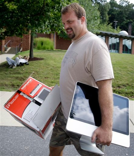 FILE - This is a July 24, 2008, file photo showing Philadelphia Eagles offensive lineman Jon Runyan arriving for football training camp at Lehigh University, in Bethlehem, Pa. (AP Photo/Matt Rourke, File)