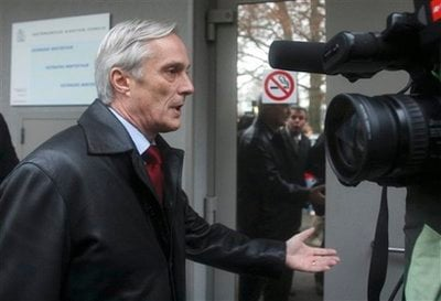 Lorenz Erni, Swiss lawyer of Polish-born filmmaker Roman Polanski reacts to reporters as he leaves a district prison where his client is believed to be held in Winterthur, 26 kilometers (16 miles) northeast of Zurich, Switzerland, Friday, Nov. 27, 2009.