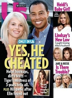 In this magazine cover image released by US Weekly Magazine, the Dec. 14, 2009 issue of 'US Weekly' featuring Tiger Woods, is shown. The issue is available nationwide on newsstands on Friday, Dec. 4.