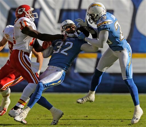 San Diego Chargers' Eric Weddle (32) and Quentin Jammer, right, battle for a interception that Jammer eventually retained as Kansas City Chiefs wide receiver Chris Chambers, left, watches during the first quarter of an NFL football game.