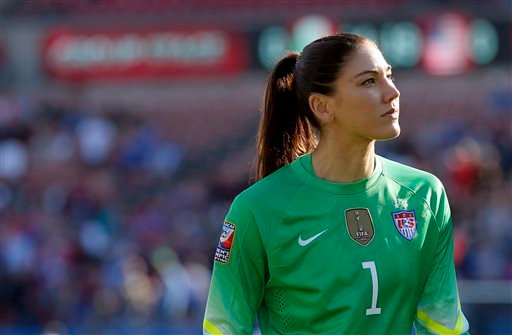 In this Feb. 13, 2016, file photo, United States goalie Hope Solo walks off the field at half time of a CONCACAF Olympic qualifying tournament.