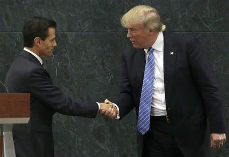 The Republican presidential nominee said after meeting with Pena Nieto that the pair had a substantive, direct and constructive exchange of ideas.v(AP Photo/Marco Ugarte)