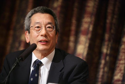 This Dec. 7, 2008 file photo shows Nobel Prize in Chemistry laureate Roger Y. Tsien speaks during the press conference at the Royal Swedish Academy of Sciences in Stockholm, Sweden.