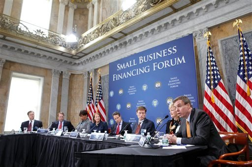 Members of the money lending industry participate at the Small Business Financing Forum, Wednesday, Nov. 18, 2009, at the Treasury Department in Washington. (AP Photo/Gerald Herbert)