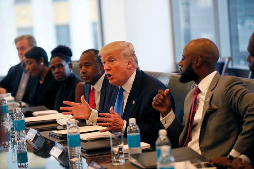 Republican presidential candidate Donald Trump holds a roundtable meeting with the Republican Leadership Initiative.