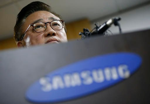 Koh Dong-jin, president of Samsung Electronics' mobile business, speaks at a news conference in Seoul, South Korea.