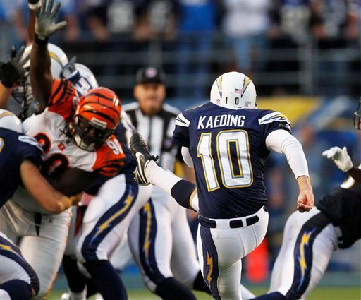 San Diego Chargers kicker Nate Kaeding kicks the 52-yard game-winning field goal with three seconds left in the fourth quarter to give the Chargers a 27-24 victory over the Cincinnati Bengals Sunday Dec. 20, 2009 in San Diego. (AP Photo/Lenny Ignelzi)