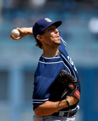San Diego Padres starting pitcher Christian Friedrich throws to the plate during the first inning of a baseball game against the Los Angeles Dodgers, Sunday, Sept. 4, 2016, in Los Angeles. (AP Photo/Mark J. Terrill)
