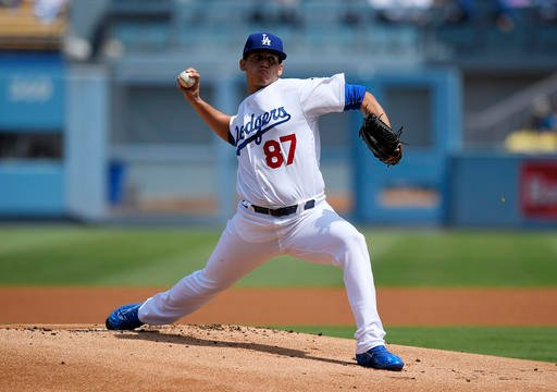 Los Angeles Dodgers starting pitcher Jose De Leon throws to the plate during the first inning of a baseball game against the San Diego Padres, Sunday, Sept. 4, 2016, in Los Angeles. (AP Photo/Mark J. Terrill)