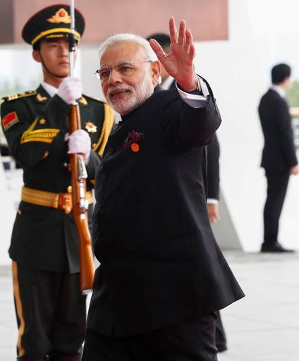 Prime Minister Narendra Modi of India arrives at the G-20 summit in Hangzhou, China, Sunday, Sept. 4, 2016. (Rolex Dela Pena/Pool Photo via AP)
