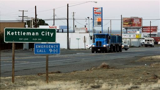 California Highway 41 is the main street of Kettleman City, Calif., seen Tuesday, Dec. 8, 2009. The tiny farm town is home to the largest toxic waste dump in the West.
