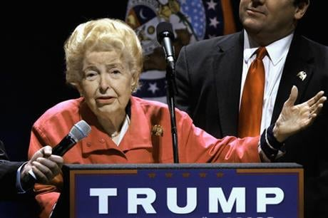 longtime conservative activist Phyllis Schlafly endorses Republican presidential candidate Donald Trump before Trump begins speaking at a campaign rally in St. Louis. Schlafly, who helped defeat the Equal Rights Amendment in the 1970s and founded the Eag
