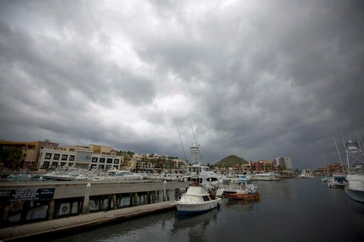 Boats wait to be taken out of the water as they prepare for the arrival of Hurricane Newton in Cabo San Lucas, Mexico.