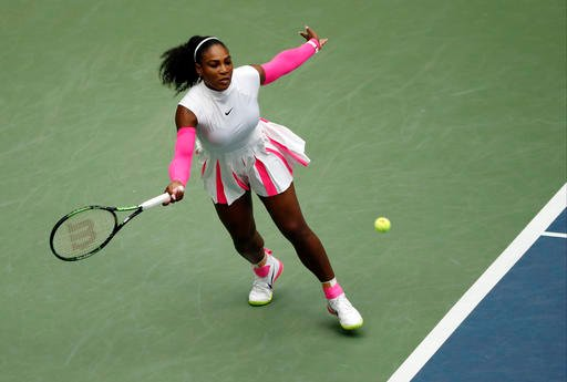 Serena Williams returns a shot to Yaroslava Shvedova, of Kazakhstan, during the fourth round of the U.S. Open tennis tournament, Monday, Sept. 5, 2016, in New York. (AP Photo/Adam Hunger)