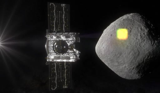 This artist's rendering made available by NASA in July 2016 shows the mapping of the near-Earth asteroid Bennu by the OSIRIS-REx spacecraft. The spacecraft will spend a year surveying Bennu before collecting a sample that will be returned to Earth for ana