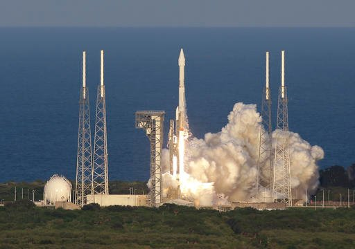 A United Launch Alliance Atlas V rocket carrying the Origins, Spectral Interpretation, Resource Identification, Security-Regolith Explorer (OSIRIS-REx) spacecraft lifts off from launch complex 41 at the Cape Canaveral Air Force Station, Thursday, Sept. 8,