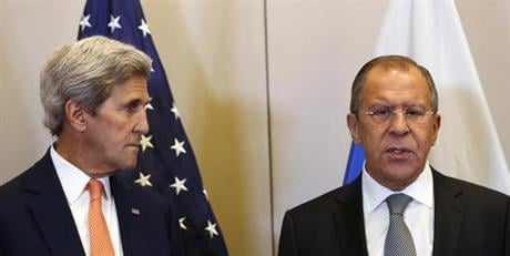 U.S. Secretary of State John Kerry, left, and Russian Foreign Minister Sergey Lavrov, meet in Geneva, Switzerland, Friday, Sept. 9, 2016, to discuss the crisis in Syria. (Kevin Lamarque/Pool Photos via AP)