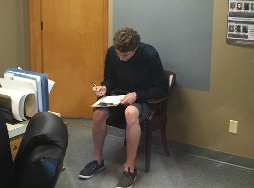 Brock Turner registers as a sex offender at the Greene County sheriff's office in Xenia, Ohio.