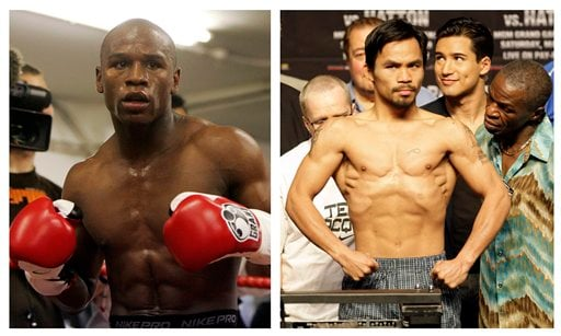 FILE - In this combination of file photos, U.S. boxer Floyd Mayweather Jr., left, prepares to spar at a gym in east London on May 22, 2009, and Manny Pacquiao, right, of the Philippines, weighs in for the junior welterweight boxing match.