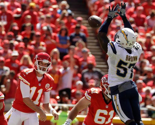 San Diego Chargers linebacker Jatavis Brown (57) blocks a throw by Kansas City Chiefs quarterback Alex Smith (11) during the first half of an NFL football game in Kansas City, Mo., Sunday, Sept. 11, 2016. (AP Photo/Charlie Riedel)