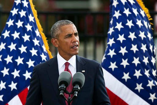 President Barack Obama speaks at the Sept. 11 memorial observance ceremony at the Pentagon, Sunday, Sept. 11, 2016. (AP Photo/Cliff Owen)