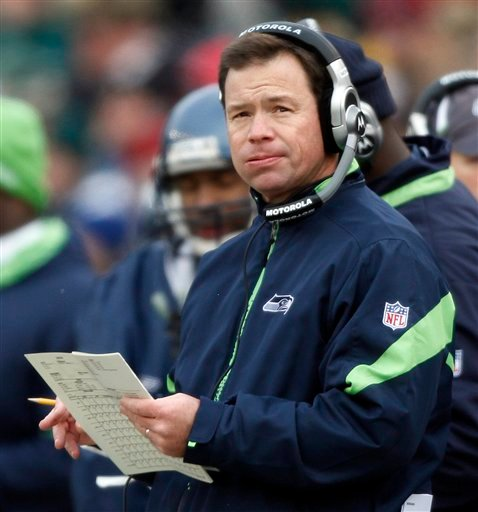 FILE - This dec. 27, 2009, file photo shows Seattle Seahawks head coach Jim Mora during the first half of an NFL football game against the Green Bay Packers, in Green Bay, Wis.